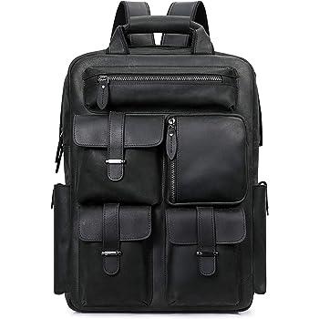 S-ZONE Men Vintage Genuine Leather Backpack Daypack Multi Pockets Travel Bag
