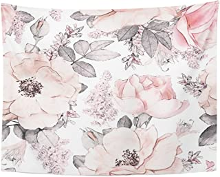 Emvency Tapestry Pink Flowers and Leaves on White Watercolor Floral Pattern Rose in Pastel Color Tileable Home Decor Wall Hanging for Living Room Bedroom Dorm 60x80 Inches
