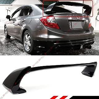 Cuztom Tuning Fits for 2012-2015 9TH Gen Honda Civic 4 Door Sedan Glossy Black JDM Mug RR Style Trunk Spoiler Wing