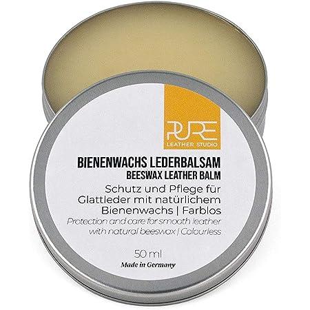 PURE Leather Studio Crema incolora para Cuidado de Piel y Cuero 50ml Cera de Abeja Natural I Bálsamo reparador I Impregna y Protege - Made in Germany
