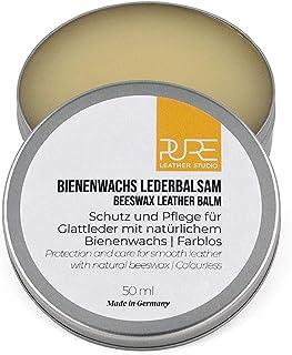 PURE Leather Studio Lederbalsam mit natürlichem Bienenwachs Creme Schutz und Pflege farblose Lederpflege für alle Glattlederarten
