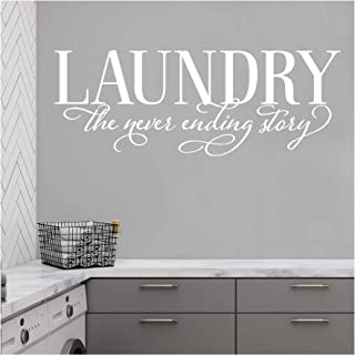 Laundry The Never Ending Story Vinyl Lettering Wall Decal Sticker (White, 16.5