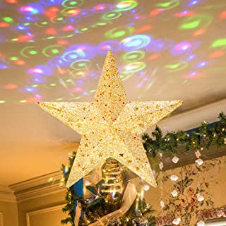 PHITRIC Christmas Star Tree Topper Indoor LED Light Projector Hollow-Out Star Topper 10-Inch Gold Star Treetop Rotatable Projector Tree Star