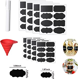 Reusable Chalkboard Stickers Labels Spice Jar Large Lables Set Includes 96 Blank Labels,1 Chalk Maker Pen,1 Silicone Collapsible Funnel,Pantry Stickers for Labeling Spice Jars,Mason Jars,Bottles