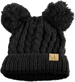 Kids Ages 2-7 Pom Pom Ears Chunky Thick Stretchy Knit Soft Beanie Hat