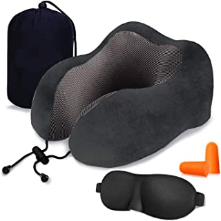 Lucear Travel Pillow Luxury Memory Foam Neck & Head Support Pillow Soft Sleeping Rest Cushion for Airplane Car with 3D Sleep Mask, Earplugs, and Luxury Bag Black