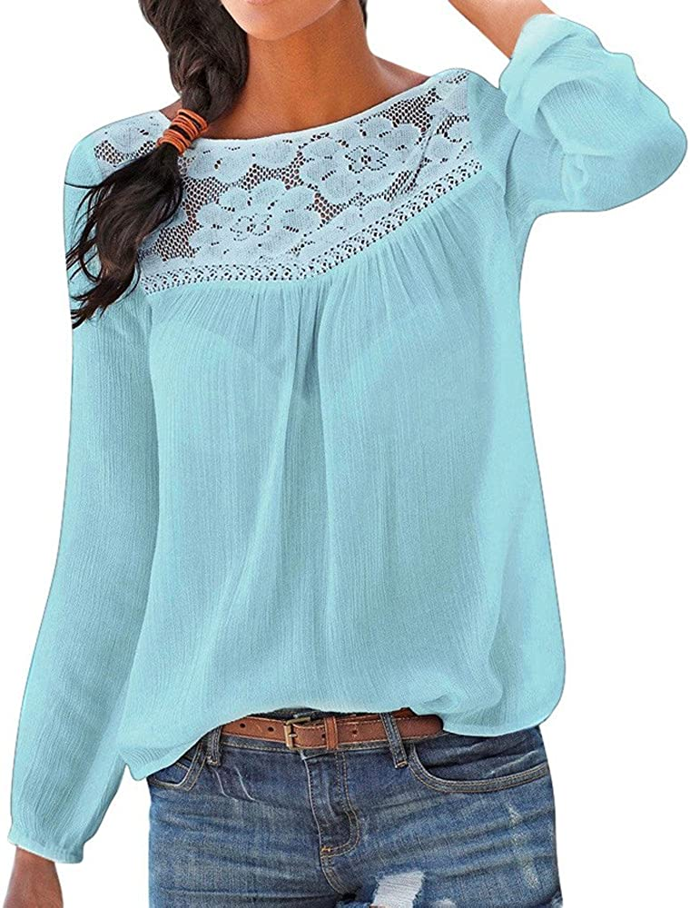 TBKOMH Women Casual Long sleeve Lace Patchwork Tops Blouse
