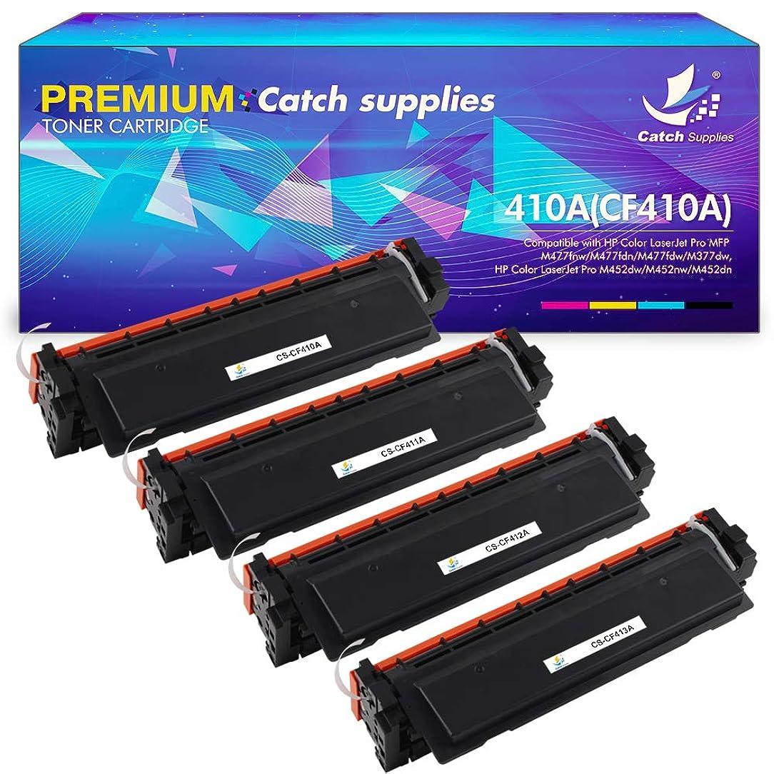 Catch Supplies Compatible Toner Cartridge Replacement for HP 410A CF410A CF411A CF412A CF413A CF410X 410X HP Color Laserjet Pro MFP M477fdw M477fnw M477fdn M452dw M452dn M452nw M477 M452 Printer 4Pack