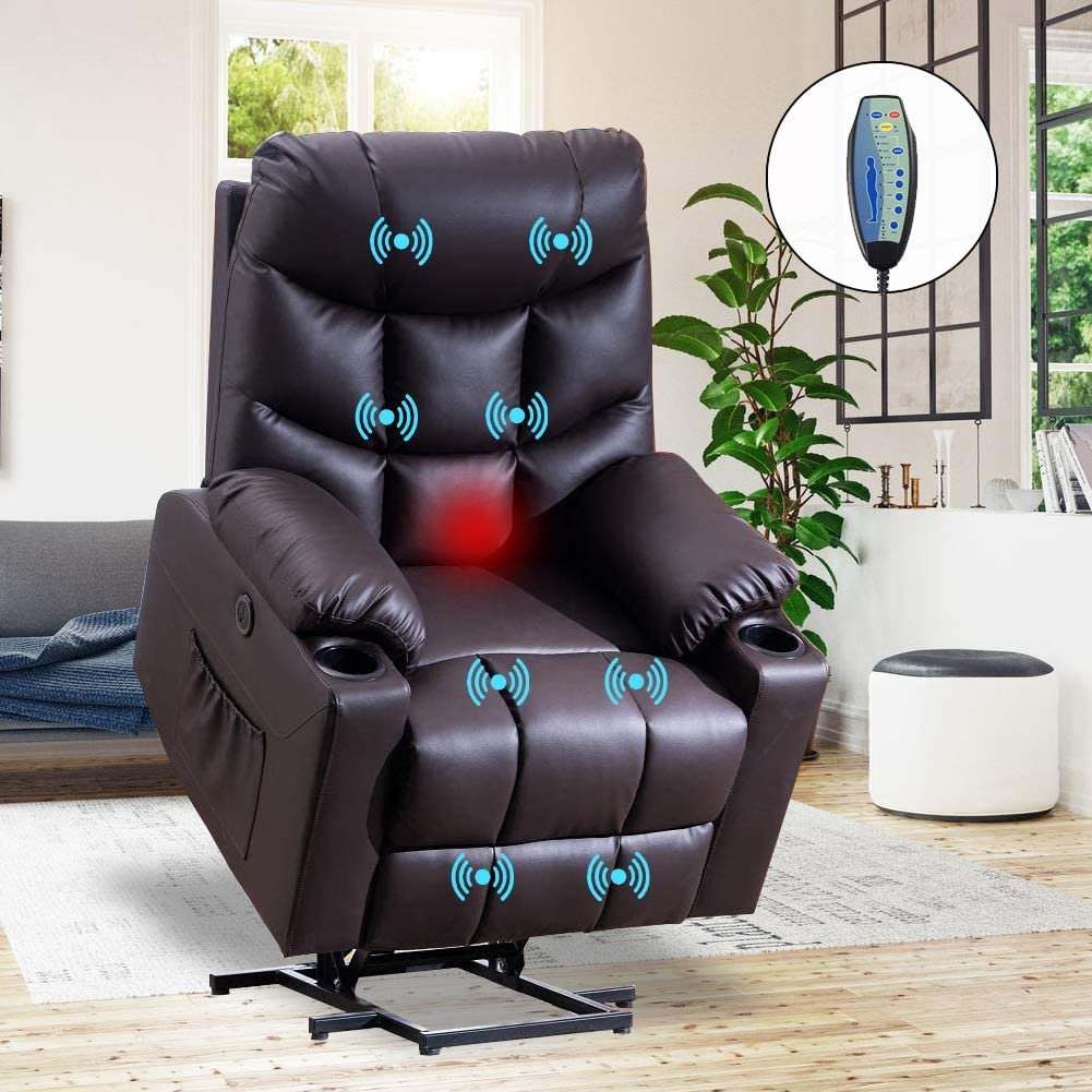 VUYUYU Power Lift Chairs Recliners, PU Leather Recliner Chair for Elderly, Heated Vibration Massage Sofa for Living Room, 3 Positions, 2 Pockets and 2 Cup Holders