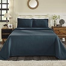 Superior 100% Cotton Basket Weave Bedspread with Sham, All-Season Premium Cotton Matelassé Jacquard Bedding, Quilted-look ...