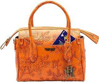 HARVEY MILLER POLO CLUB Borsa moda Donna Ragazza, arancio in similpelle con fiori in rilievo, a mano o con laccio per tras...