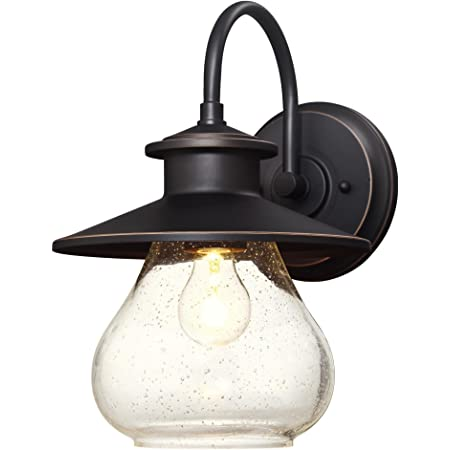 KICHLER Lyndon 1-Light Architectural Bronze Outdoor Sconce w// Clear Seeded Glass