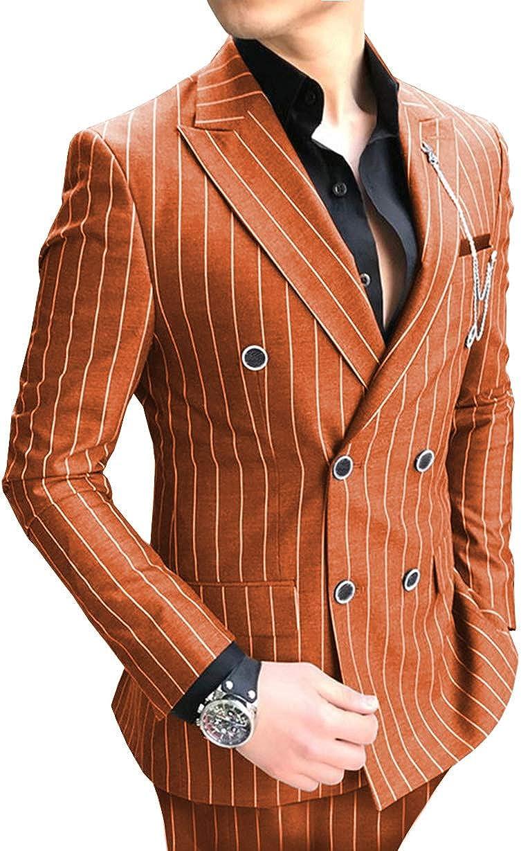 Men's 2 Piece Slim Fit Pinstripe Men Suit Custom Made Formal Groomsmen Tuxedos(Blazer+Pant)