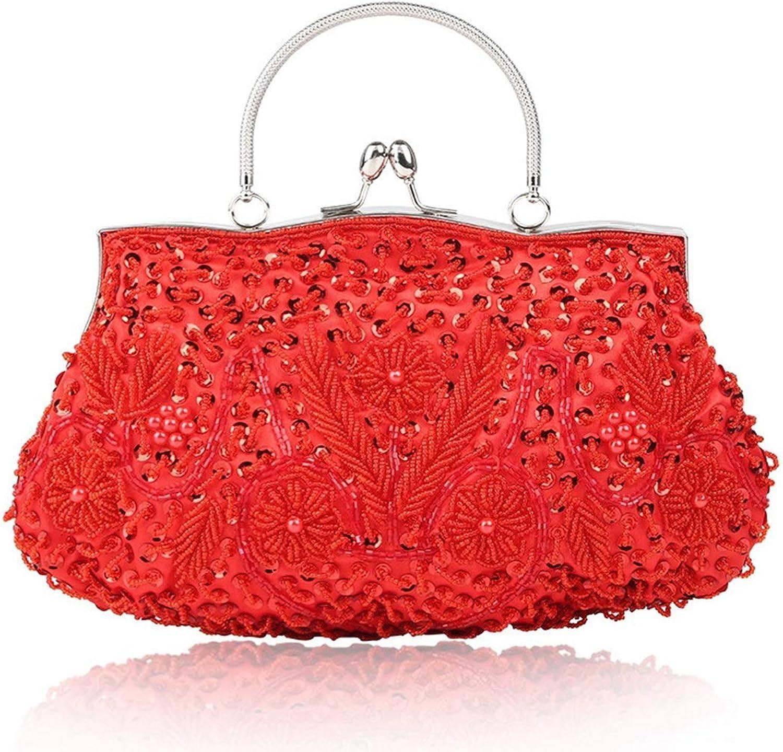 Ladies Handbag Women Rhinestone Evening Clutch Purse Evening Handbags Diamond Beading Dinner Bags Hard Suitable for Parties (color   Red)