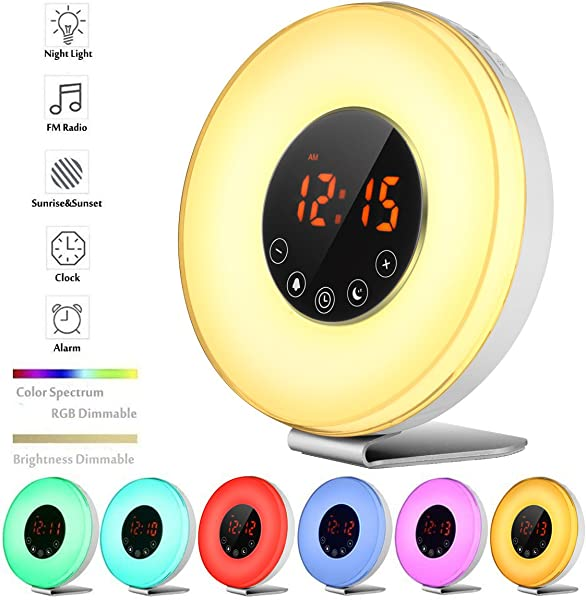 Wake Up Light Alarm Clock Blingco Sunrise Simulator Digital Alarm Clock With FM Radio Snooze Sunset Function 7 Colors Night Lights Nature Sounds Touch Control Alarm Clock Radio For Heavy Sleepers
