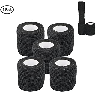 Camo Wrap Tape Military Army Camouflage Tape Cling for Shotguns Hunting Camping, Self-Adhesive Protective Stretch Bandage Roll, Non-Woven Fabric, 15 ft Length x 2 inch Width, 5-Pack (Black)