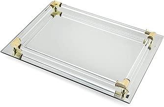 Mirror Tray Vanity Tray Serving Tray with Crystal Border - 9
