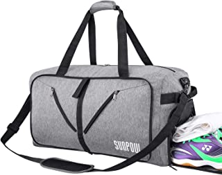SUNPOW 115L Travel Duffel Bag, Extra Large Weekender Bag With Shoes Compartment Tear Resistant Packable Duffle Bag For Men Women Light Grey