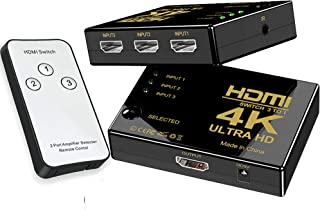 HDMI Switch 3 in 1 Out, Rumanle 4K HDMI Switcher 3x1 with IR Remote, Auto HDMI Selector Switch Supports HD 1080P 4Kx2K 3D HDCP 1.4 for Xbox PS4 TV Fire Stick Blu-Ray Player -(Plastic Shell)