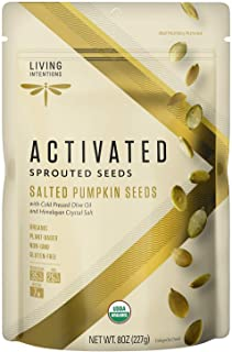 Living Intentions Organic Sprouted Pumpkin Seeds: Salted – NonGMO – Gluten Free – Vegan –Kosher – Paleo - 8 Ounce Unit