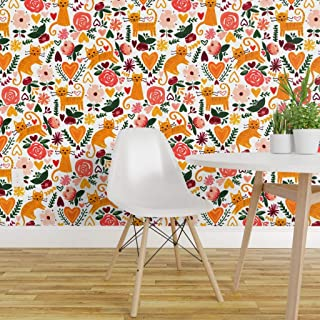 Spoonflower Pre-Pasted Removable Wallpaper, Orange Kittens Valentine' Day Kitten Love Green Maroon Coral Cat Animal Flowers Leaves Print, Water-Activated Wallpaper, 12in x 24in Test Swatch