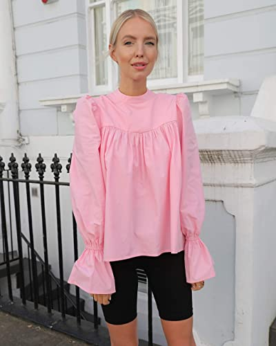 The Drop Women's Candy Pink Loose Mock Neck Puff Long Sleeve Top by @leoniehanne