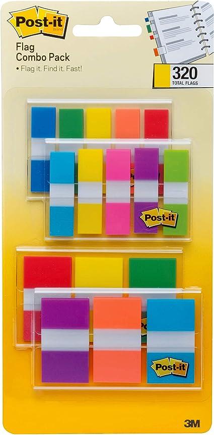 Post-it Flags Paquete combinado de colores surtidos, 320 banderas en total, 200 banderas de 1 pulgada de ancho y 120 banderas de 1 pulgada de ancho, 4 dispensadores/paquete (683XL1) : Amazon.com.mx: Oficina y papelería