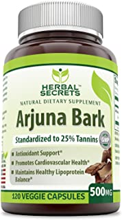 Herbal Secrets Arjuna Bark Standardized to 25 % Tannins 500 Mg 120 Veggie Capsules - Antioxidant Support* Promotes Cardiovascular Health* Maintains Healthy Lipoprotein Balance *