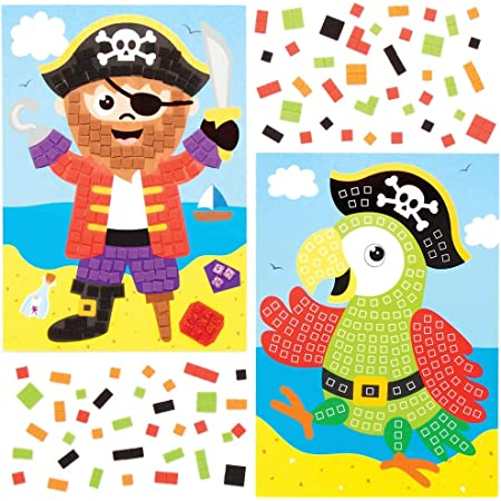 Baker Ross Kits d'illustrations pirates en mosaïques mousse (Paquet de 4) - Loisirs créatifs à thème pour enfants