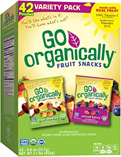 Go Organically Organic Fruit Snack Variety Pack, Medley & Mixed Berry, 42Count