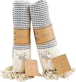 FOCHA Turkish Hand Towel Set of 2 | 100% Cotton, Quick-Dry, Soft Decorative Hand Towels for Bathroom, Kitchen,Bath,Hair,Fa...