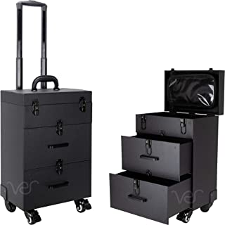 Sunrise Faux Leather Professional Nail Artistry 4 Wheel Rolling Makeup Case, Black