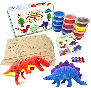 Create Modeling Clay Dinosaur Figures Game Arts and Crafts Toys for Kids Ages 5 -12 Year Old Boys Girls Gifts - Creativity Dino 3D Puzzle with Air Dry Clay Activity Party Supplies T-Rex Stegosaurus