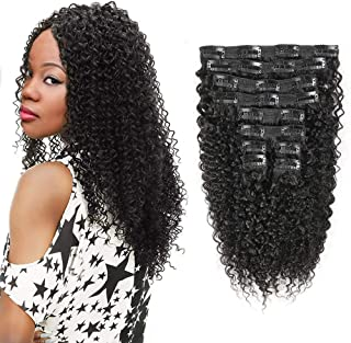 Kinky Curly Clip in Hair Extensions Brazilian Remy Virgin Hair Natural Color Curly Clip Ins For Women 120Gram 10Pcs/Set Natural Black 10 inch