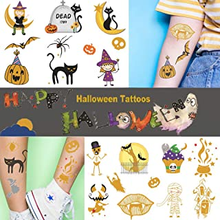 Ooopsi Halloween Tattoos for Kids - 72 Glitter Styles   Halloween Tattos Decorations, Skeletons Ghosts, Pumpkins, Spiderwebs for Kids Party Favors