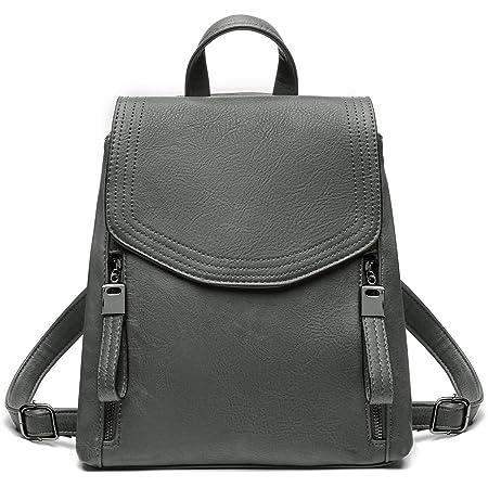 JOSEKO Damen-Rucksack mit Klappe aus Leder, lässiger Rucksack mit Schulterriemen