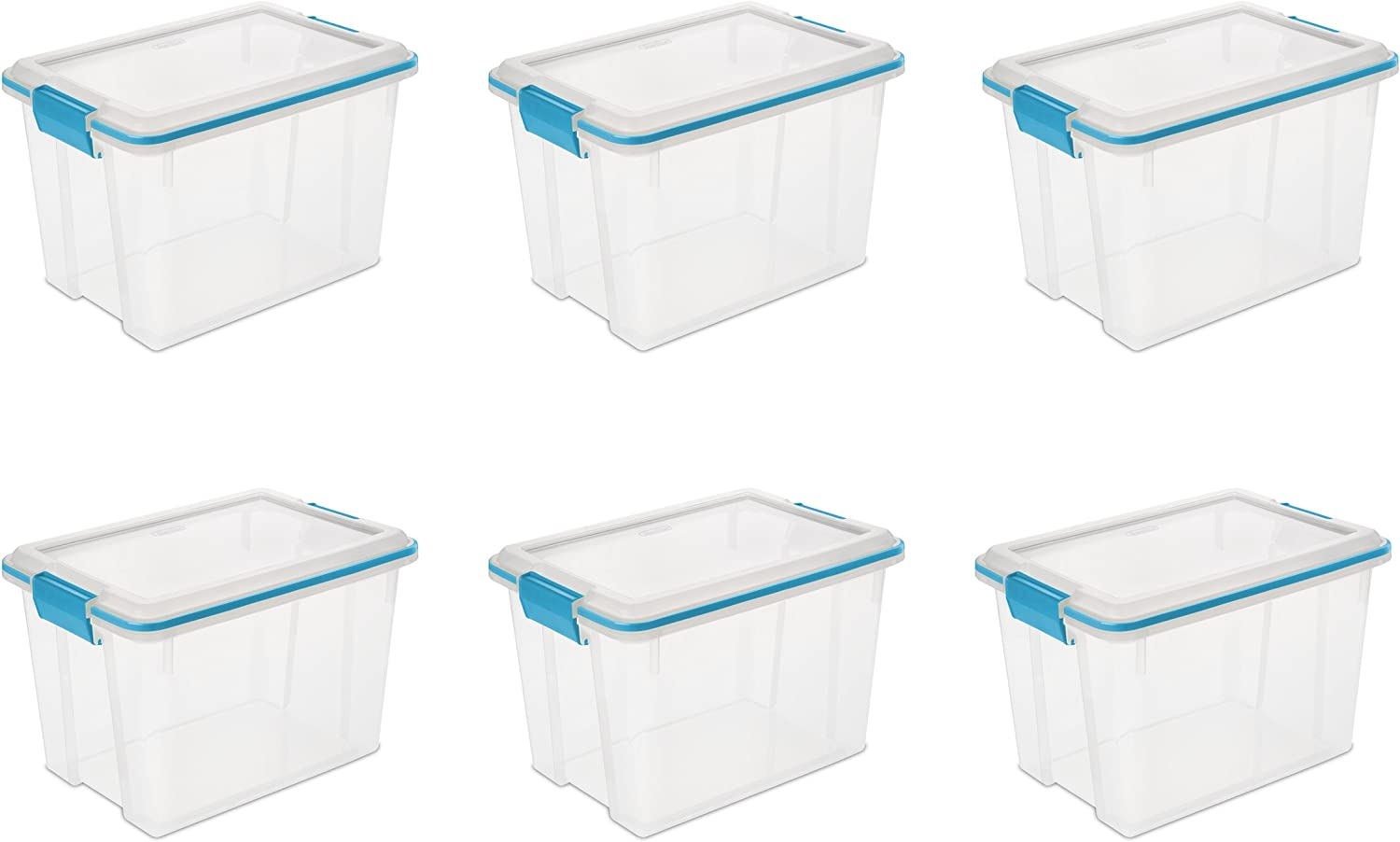 Sterilite 19324306 20 Quart 19 Liter Gasket Box, Clear with bluee Aquarium Latches and Gasket, 6-Pack