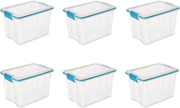 product image for Sterilite 19324306 Gasket Box See-Through Lid and Base with Blue Aquarium Latches and Gasket, 20-Quart, 6-Pack