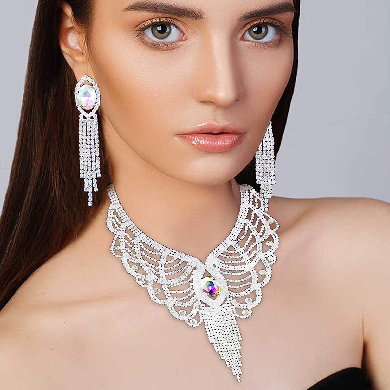 Crystal Wedding Jewelry Set,Y or V Shape Necklace Pendant Earring Set,Bridal Austrian Crystal Necklace Dangle,Wedding Party Jewelry for Bridal Bridesmaid fit with Wedding Dress
