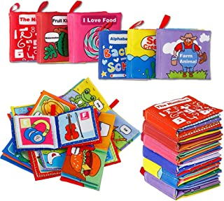 Acekid First Soft Books for Babies, 6pcs Toddler Mini Cloth Book Set, Infants Stroller Books - Crinkle, Colorful and Nontoxic, Shower Gift for Baby