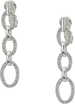 Crystal Clip Linear Drop Earrings