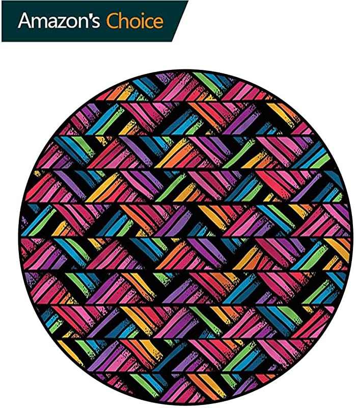 RUGSMAT Abstract Round Rug Kid Carpet Colorful Diagonal Stripes Floor Mat Home Decor Diameter 24