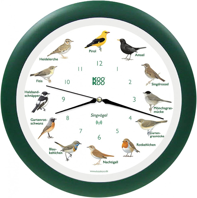 KooKoo - Die singende Vogeluhr, Wanduhr Singvgel mit RC Funkquarzwerk grün