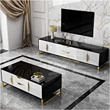 New Black and White Nordic Light Luxury Coffee Table TV Cabinet Combination Classic Modern Design TV Cabinet Annacboy (Col...