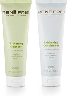 Rene Fris Thickening Volume Shampoo Cleanser and Conditioner for Fine Hair-Sulfate Free, Paraben Free, Combo Pack