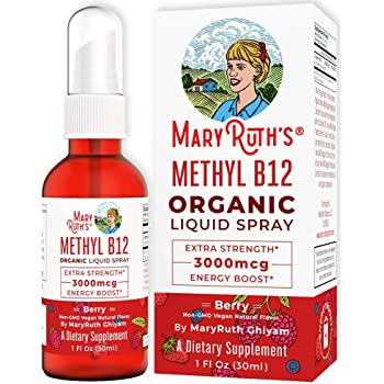 (Extra Strength-60 Day) Organic Vitamin B12 (Methyl) Liquid Sublingual Spray by MaryRuth's Energy Boost - Sugar Free - Non GMO Vegan - Gluten Free - Paleo - Bariatric, Celiac Glass Bottle 1oz-3000 mcg