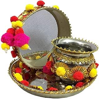 indianbeautifulstore Indian Pom Pom and Gotta Patti Work Decorative Karwachauth/Karvachauth Thali Set Handmade Decorative Plate Channi Pooja Thali Puja Set