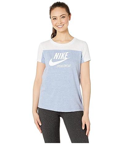 Nike Sportswear Gym Vintage Top Short Sleeve Graphics (Birch Heather/Indigo Fog/Indigo Fog/Sail) Women