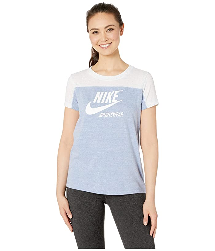 Nike Sportswear Gym Vintage Top Short Sleeve Graphics (Birch Heather/Indigo Fog/Indigo Fog/Sail) Women
