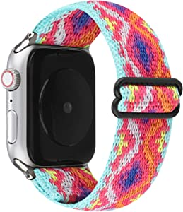 JimBird Adjustable Elastic Stretchy Sport Loop Compatible for Apple Watch Band 42mm/44mm, Soft Stretch Women Strap Replacement for Series 6/SE/5/4/3/2/1 (Boho-RO, 42/44 mm)